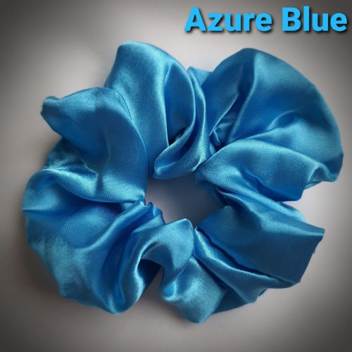 Azure Blue Satin Scrunchie